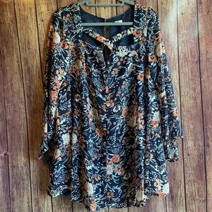 Umgee Blue Floral Boho Long Bell Sleeve Tunic
